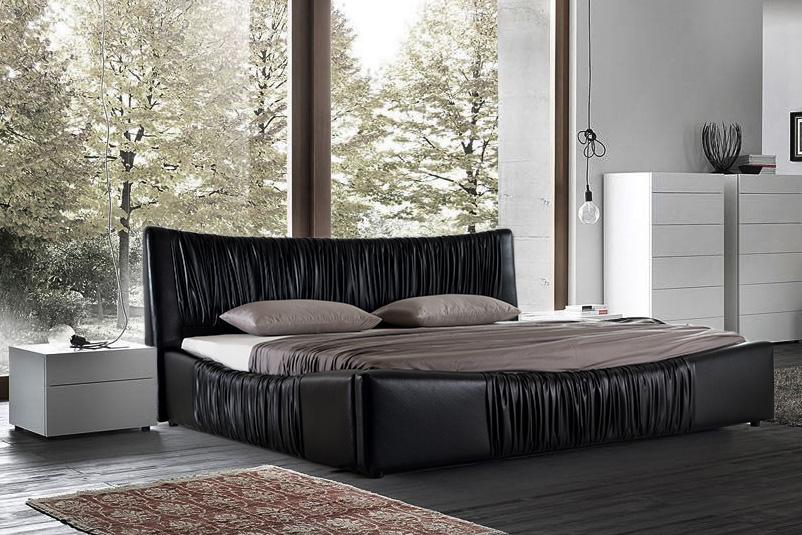 Prancūziško dizaino odinė miegamojo lova BOSTON