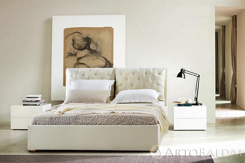 Puošni minimalistinių formų dvigulė lova SICILIJA